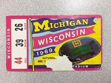 Michigan vs. Wisconsin 1969 Football Ticket Stub- Big House-RARE