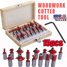"15 PCS Shank Router Bit Set 1/2"" Carbide Tip Ball Bearing Woodwork Cutter Tool"