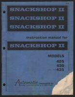 Automatic Products Snackshop 2 Vending Machine Manual Models 425 430 435 Snack