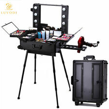 Pro Rolling Studio Makeup Artist Cosmetic Case Lighted Mirror Station Table Legs