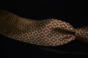 Hermes Made in France Olive Foulard Silk Red Ribbon Diamond Mosaic Tie 7331 EA