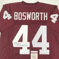 Autographed/Signed BRIAN BOSWORTH Oklahoma Sooners Red Football Jersey JSA COA