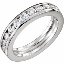 1.30 ct Round Diamond Wedding Ring Anniversary Band, Channel Set, F Vs/Si1