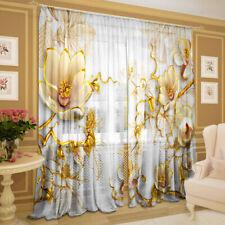 2er Set Gardinen transparent Foto Vorhänge 3D - Blüten, Chiffon, 145 х 270 cm