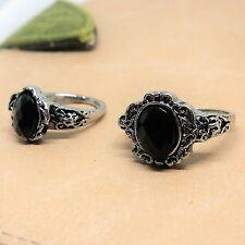 NEW Silver Black Gemstone Ring Band Wrap Women Men Jewelry Fashion Vintage Gift