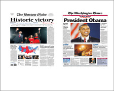 2 Miniature 'OBAMA WINS ELECTION' Newspapers   Barbie sized 1/6 scale