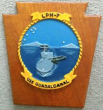USS Guadalcanal LPH-7 Hand Painted Plaque, Gemini X, Apollo 9 Recovery Ship
