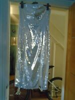 NEW River island all pale silver sequin bustier style dress...size 12....rp £65