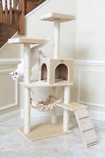 "57"" GleePet Cat Tree Condo House Scratching Post Perch Tower Hammock Beige"