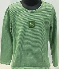 Gap Girls 5-6 Green White Striped Scoop Neck Long Sleeve Shirt Christmas