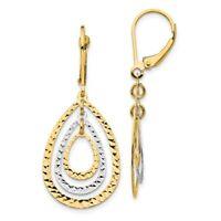 14k Two Tone Yellow Gold Leverback Earrings Lever Back Drop Dangle Fine Jewelry
