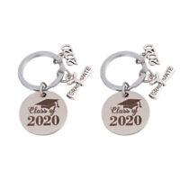 2pcs Graduation Keychain 2020 Graduation Stainless Steel Keychains for Car Key
