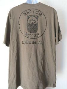 Brown Funny BEARD A BEAR WOODSHOP TEE SHIRT Idyllwild woodwork woodworking