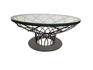 Indoor Round Black Glass Coffee Table Metal Curved Legs