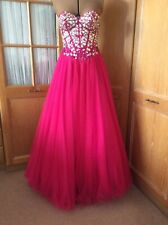 Ladies Cerise Pink Beaded Ball Dress. Ballroom. Special Occ. Evening. Size 10