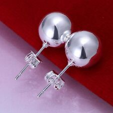 Fashion 925Sterling Solid Silver Jewelry 10mm Ball Stud Earrings For Women E074
