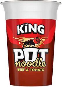 Pot Noodle Beef & Tomato Flavour, King Pot Size (12 x 114g Pots)