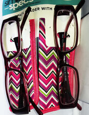 New! Foster Grant Rosemary Pink 2 Pack 2.00 Reading Glasses W/Soft Cases.