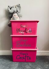 Medium Personalised Stackable Toy Storage Box For Barbies Dolls Cars Lego Hinch