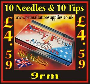 10 Sexy Pins Tattoo Needles 9 Round Magnum  +  10 Disposable Long tips 9 Flat