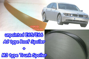 Unpainted BMW 02-05 E65 E66 7-series Sedan A Type Roof + M3 Type Trunk Spoiler◎