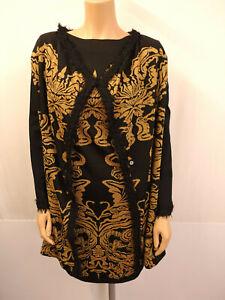 ANA ALCAZAR Kostüm Gr.40 Strickkleid Strickjacke Mantel Kleid Schwarz Gold