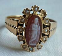 JUGENDSTIL Ring 14 Karat ROTGOLD 585/f. KAMEE ca. 2,71 gramm RW ~18 mm