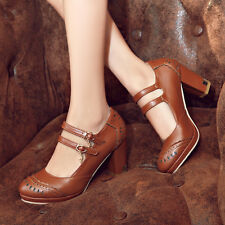 Retro Women Buckle Strap Mary Janes High Heel Brogues Ladies Shoes Pumps NEW Sz