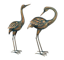 Copper Patina Crane Pair Metal Art Garden Sculpture Outdoor Yard Statue Heron