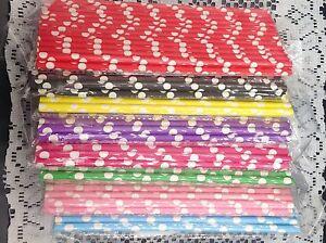 25 Paper Straws Colorful Polka Dot Drinking Straws For Party Wedding Birthday
