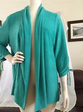 JM Collection Womens Plus 0X Textured Cardigan Open Solid Dynasty Green Shirt
