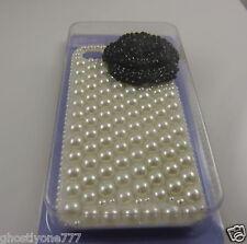 Fits&  for phone 4 / 4S faux pearl 3D black flower Bling case i phone 4 elegant