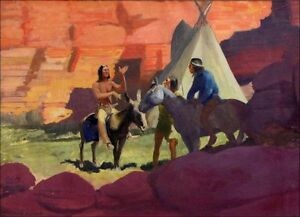 """ROBERT WESLEY AMICK 1879-1969: Signed Western painting """"Meeting at the canyon"""""""