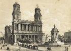 Paris Vue du l'Eglise de Saint Sulpice - Lithographie originale XIXème