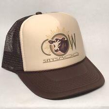 Cow Says Moo Trucker Hat Vintage Style Hobby Steer Farm Snapback Cap Bull Brown