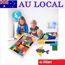 Wooden Tangram Brain Teaser Puzzle Tetris Game Preschool Children Play Wood OE