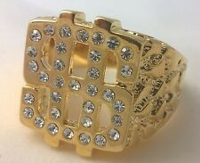 G-Filled Mens 18k yellow gold simulated diamond nugget dollar ring bling hip hop