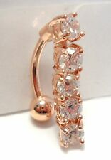 Rose Gold Titanium Curved Barbell Clear Crystals Dangle VCH Clitoral Hood 14g
