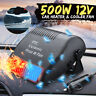 Plug-in Ceramic Car Heater 12V 500W Heating Fan Defogger Defrost Demister Black
