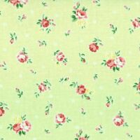 Cottage Shabby Chic Lecien Princess Rose Small Roses Fabric 31267L-60 Lime BTY