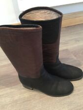 Authentic Ladies Chanel 12A Two Tone Dark Brown Black Leather Midcalf Boots Uk 6
