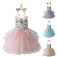 Kids Girls Unicorn Outfit Tutu Dress Birthday Party Princess Cosplay Costume Set