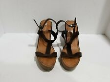 American Eagle Womens Brown Suede Wedge Slingback Sandals Size 9 M