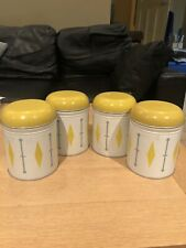 Vintage Rare Genuine 1960s Worcester Ware Storage Tins Yellow - Set of Four