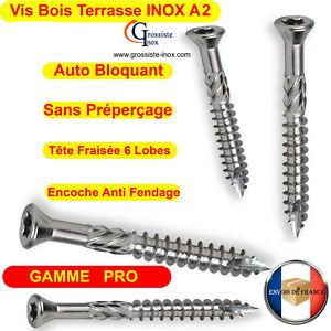 Vis Terrasse INOX A2 Bois Dur Exotique GAMME PRO 4x40 5x50 5x60 5x70 5x80