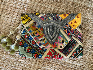 Antik Batik Embroidered Patchwork Beaded Clutch Bag Purse  Yellow Green Blue Red