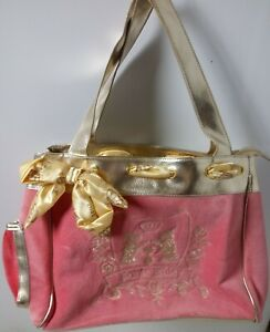 juicy couture J'aime Juicy pink and Gold velour purse Elegant
