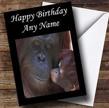 Orangutan Mum & Baby Personalised Birthday Greetings Card