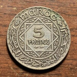 1934 Morocco 5 francs (1352) - silver coin - nice details