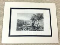 1860 Antique Engraving Print Pont du Gard Aqueduct Roman Bridge France Nemausus